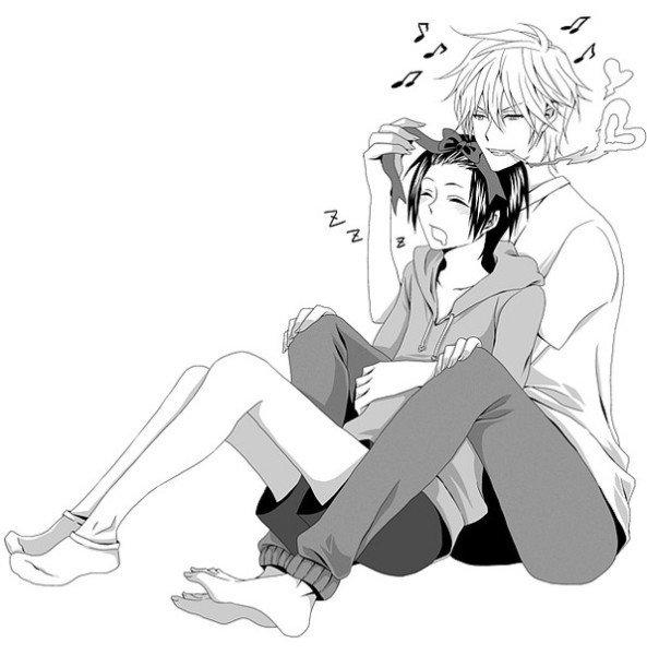 Парень и девушка аниме черно белые арты (3)