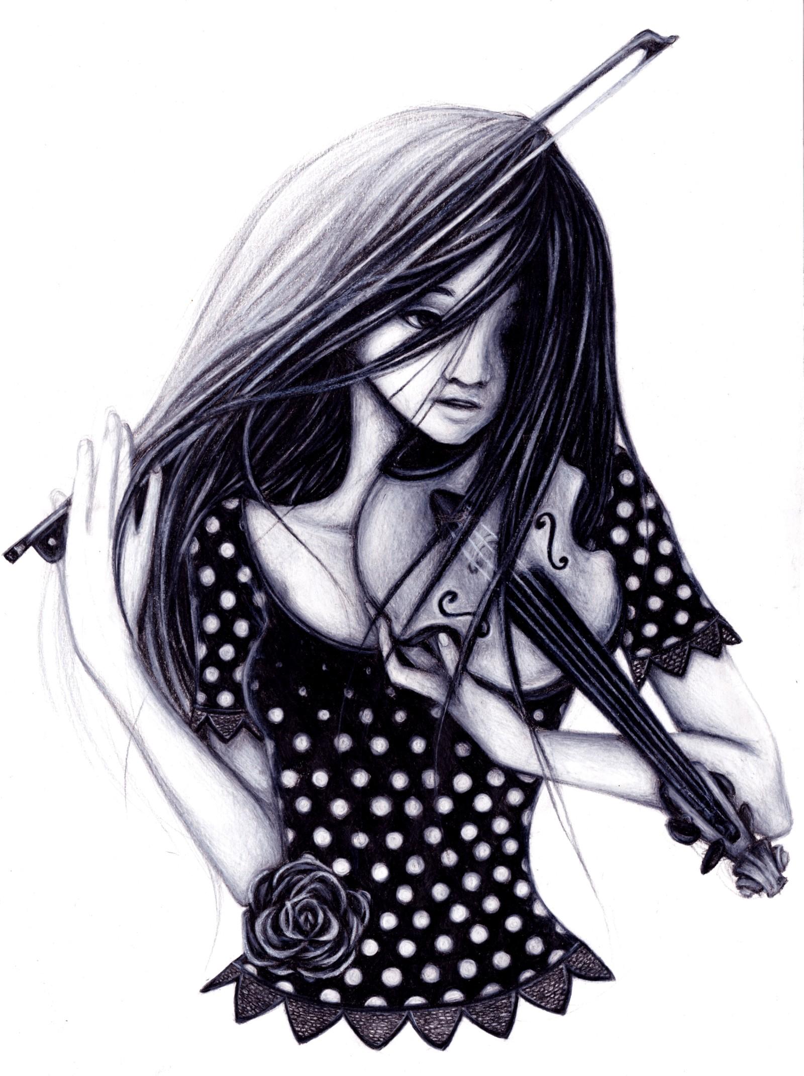 Парень и девушка аниме черно белые арты (6)