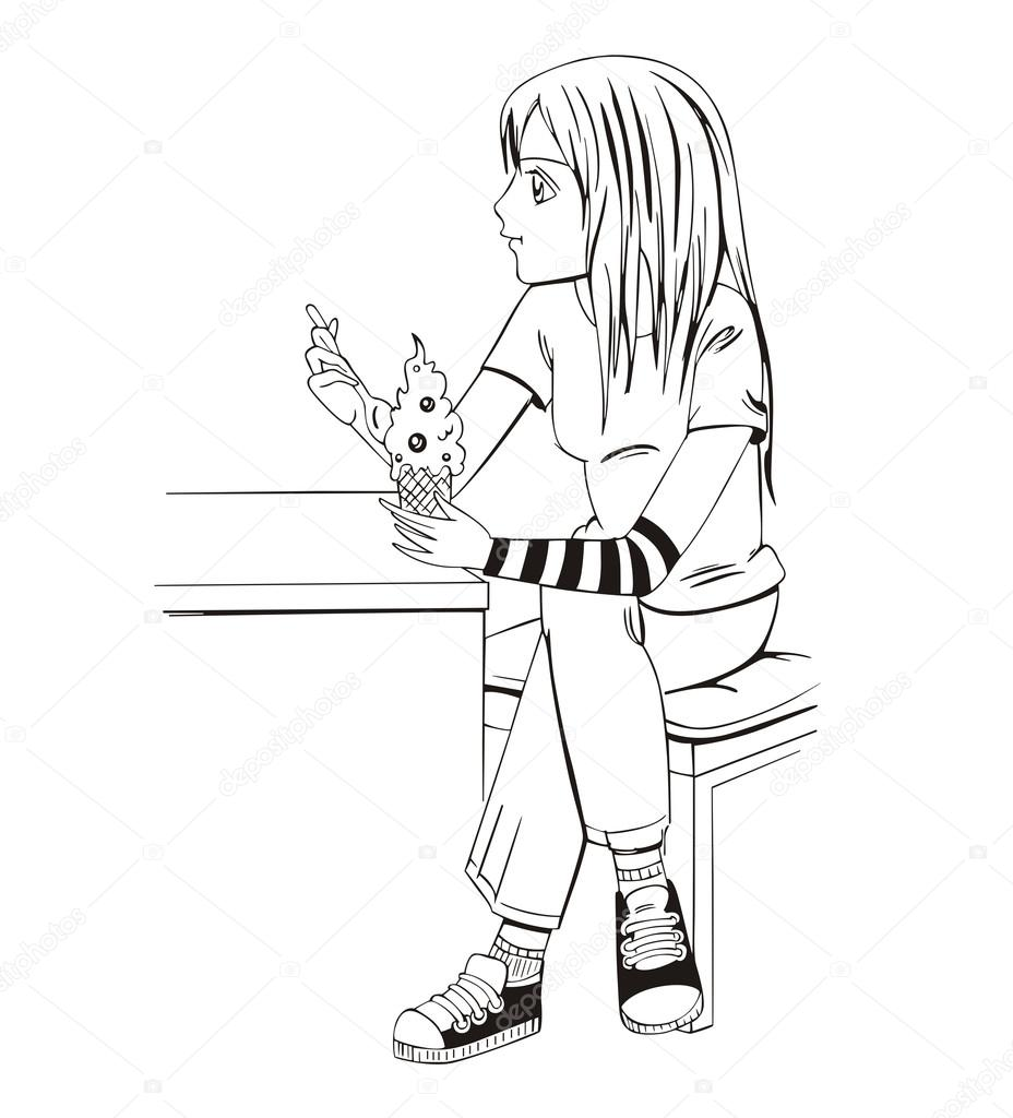 Парень и девушка аниме черно белые арты (7)
