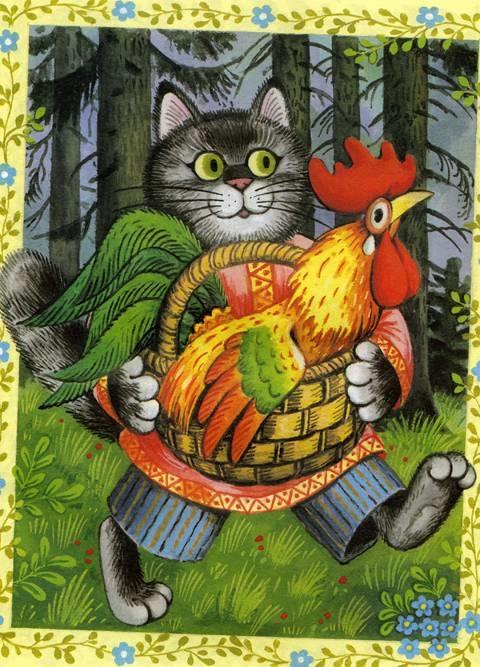 Петух из сказки Кот и Петух картинки 012