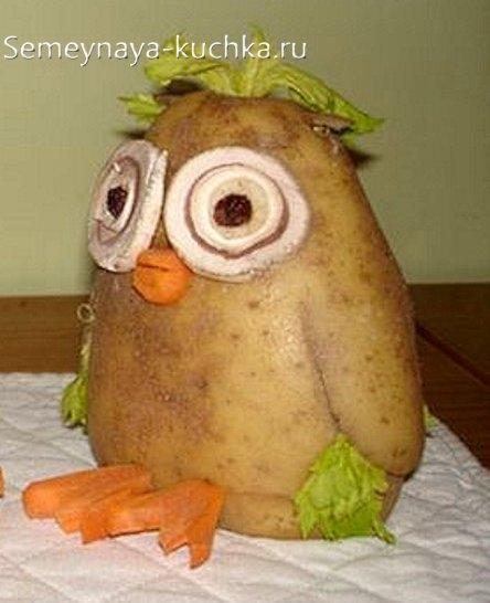 Поделка сова из овощей фото 002