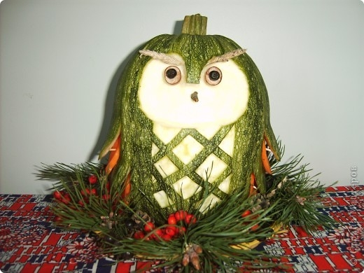 Поделка сова из овощей фото 012