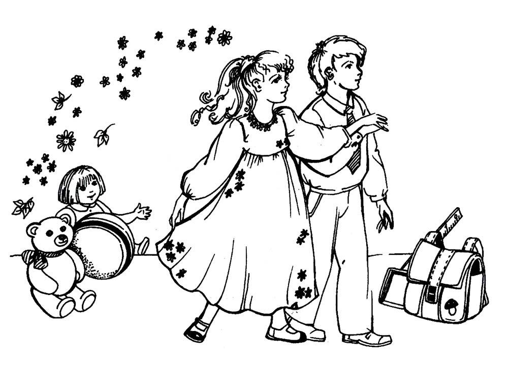 Раскраска дети и воспитатель в детском саду 025