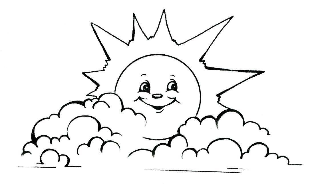Раскраска солнышко с лучиками распечатать