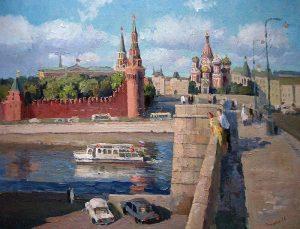 Рассвет над Москвой рекой   рисунок для детей 024