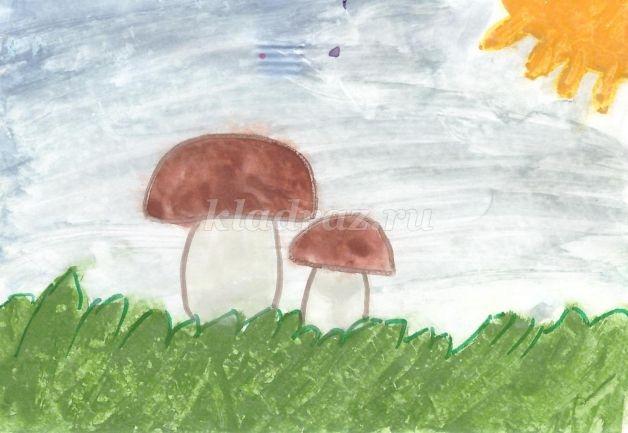 Рисование грибов в старшей группе картинки