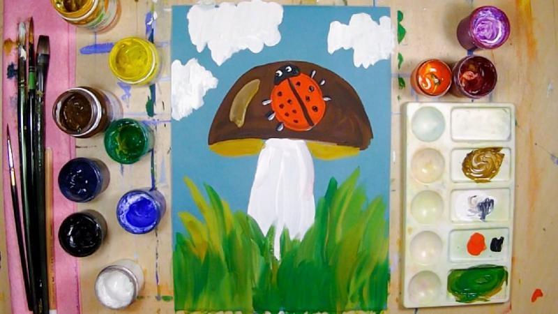 Рисование на тему грибы и ягоды 013