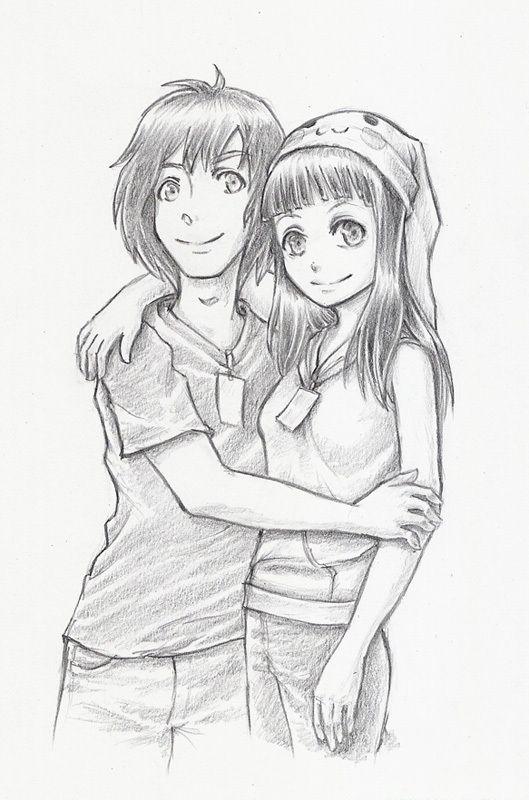 Девочка и мальчик картинки нарисованные карандашом