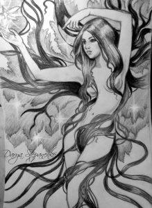 Рисунки карандашом в стиле фэнтези 026