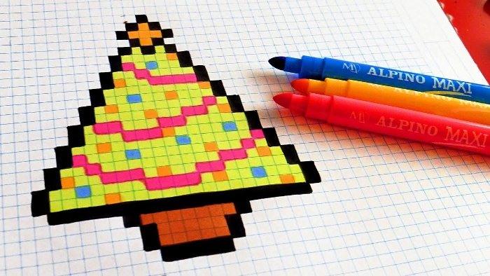Рисунки ручкой в тетради в клетку легкие и простые029