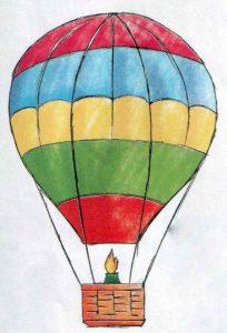 Рисунок воздушный шар с корзиной для детей028