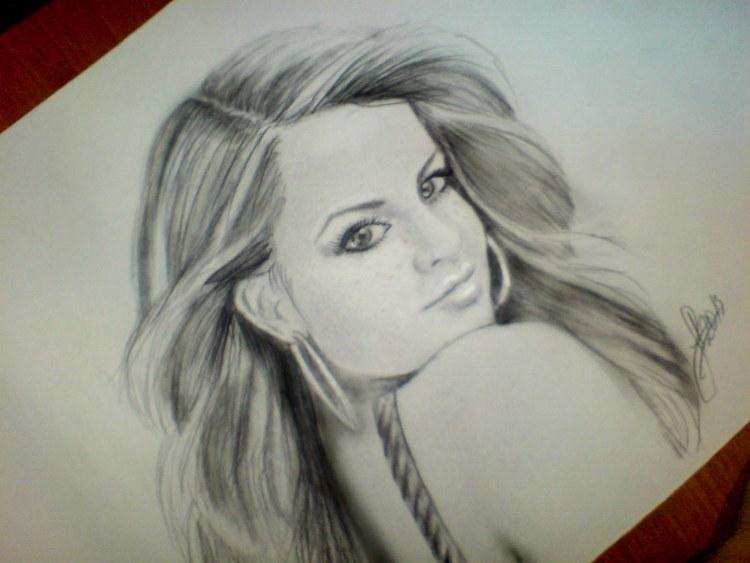 Рисунок девочки с косичками карандашом 027