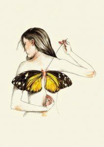 Рисунок девушка с крыльям 024