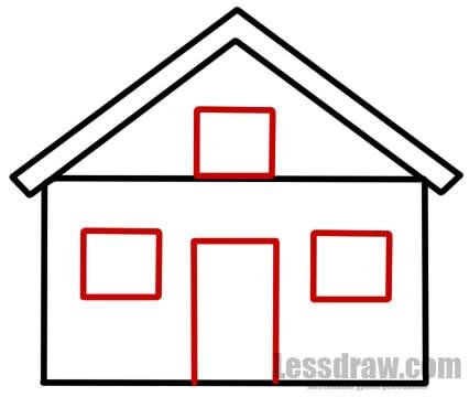 Рисунок домика с окошками   изображения 001