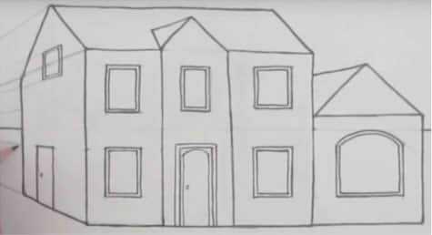 Рисунок домика с окошками   изображения 005