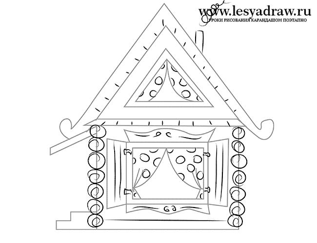 Рисунок домика с окошками   изображения 008