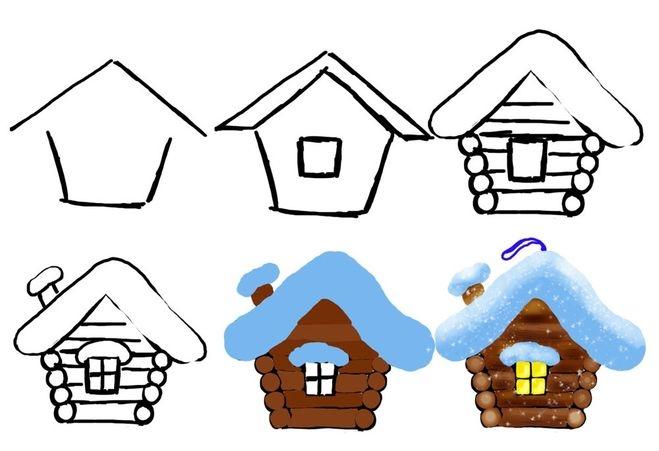 Рисунок домика с окошками   изображения 014