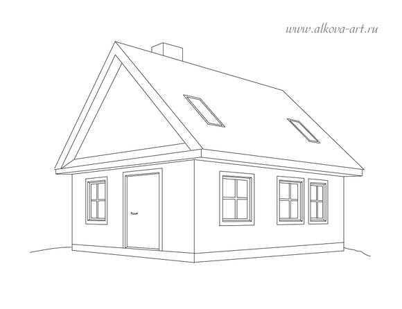 Рисунок домика с окошками   изображения 015