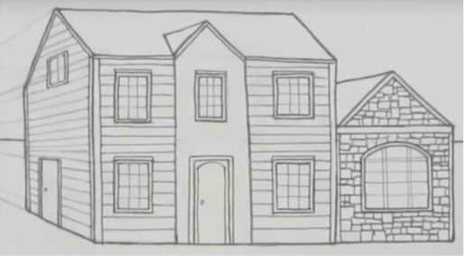Рисунок домика с окошками   изображения 018