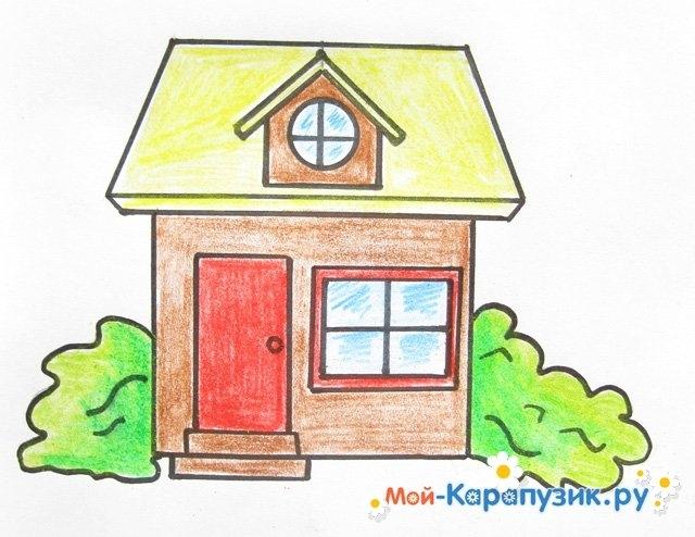 Рисунок домика с окошками   изображения 021