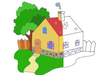 Рисунок домика с окошками   изображения 022