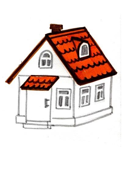 Рисунок домика с окошками   изображения 026