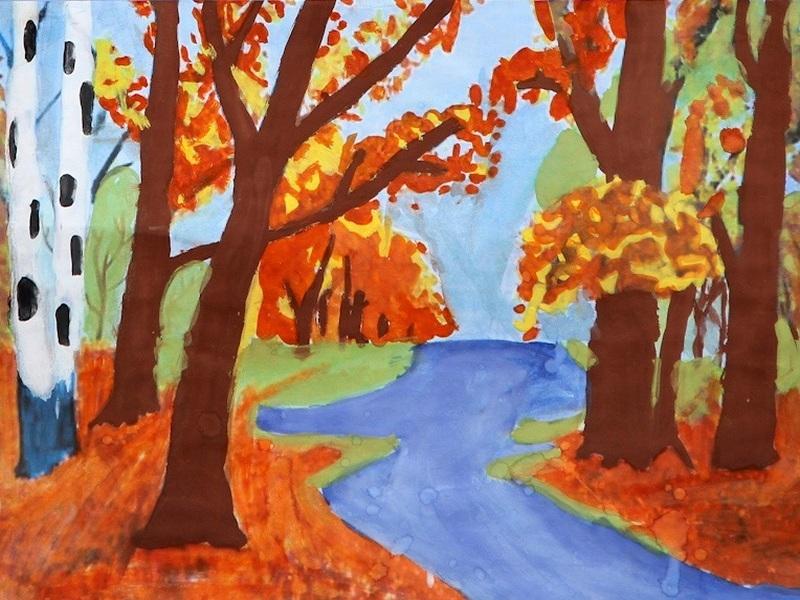 Картинки рисованные осень для детей