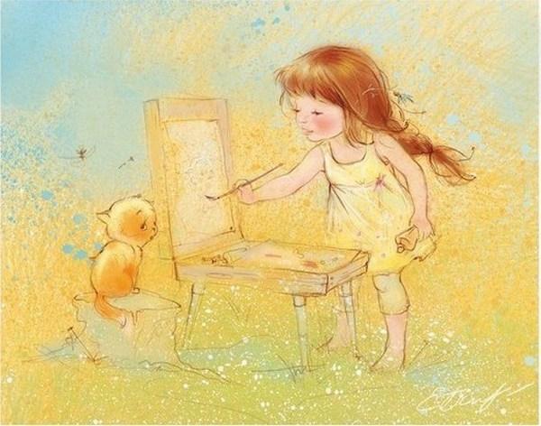 Картинки на тему девочка рисует, июня поздравление картинках