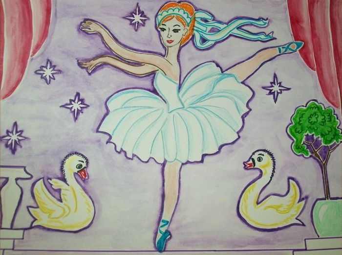 Рисунок на тему лебединое озеро 001