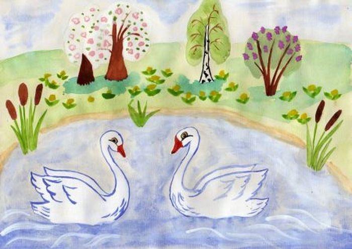 Рисунок на тему лебединое озеро 002