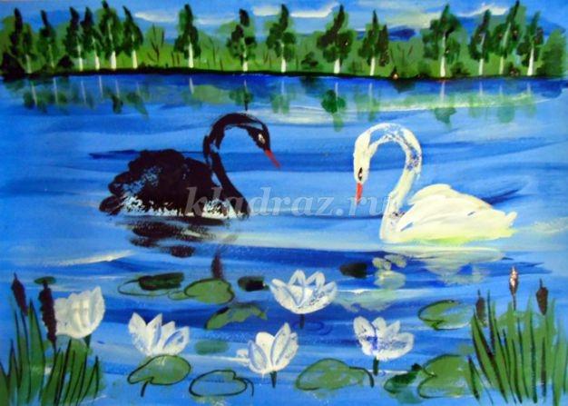 Рисунок на тему лебединое озеро 005