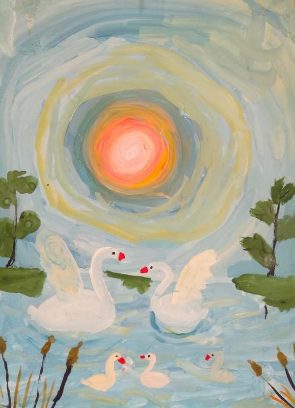 Рисунок на тему лебединое озеро 016