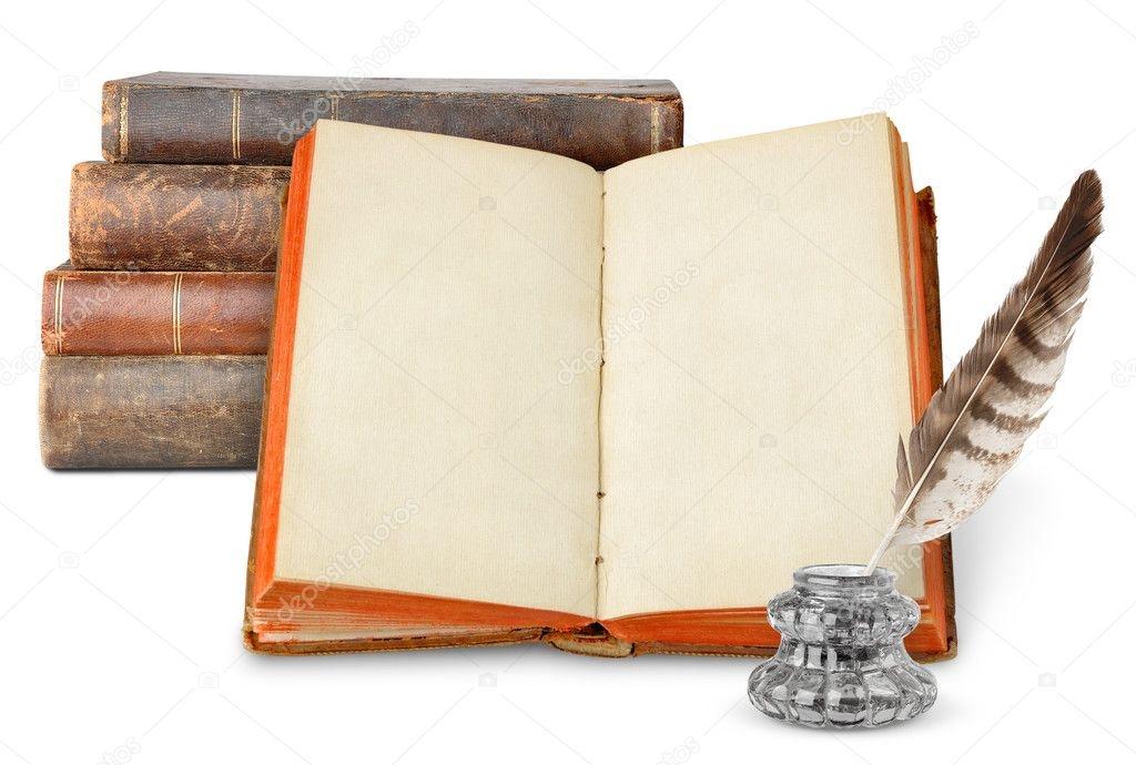 Рисунок раскрытой книги с пером 004