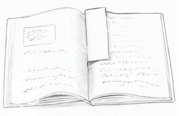 Рисунок раскрытой книги с пером 007
