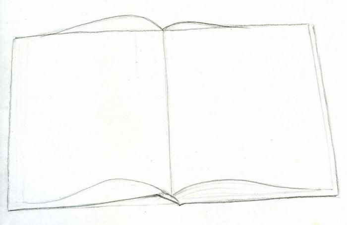 Рисунок раскрытой книги с пером 009