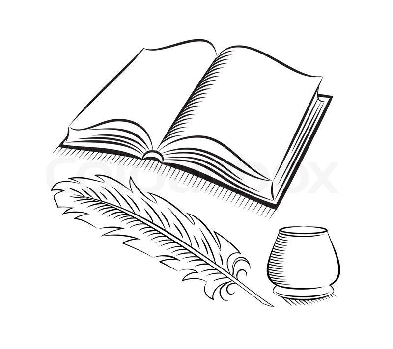 Рисунок раскрытой книги с пером 012