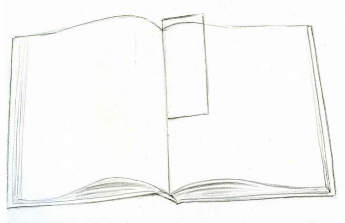Рисунок раскрытой книги с пером 013