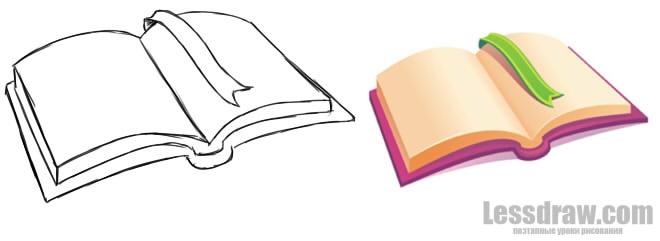 Рисунок раскрытой книги с пером 014