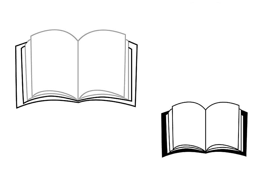 Рисунок раскрытой книги с пером 015