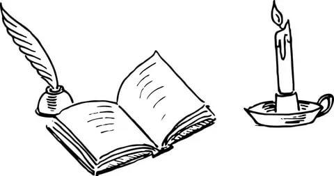 Рисунок раскрытой книги с пером 017