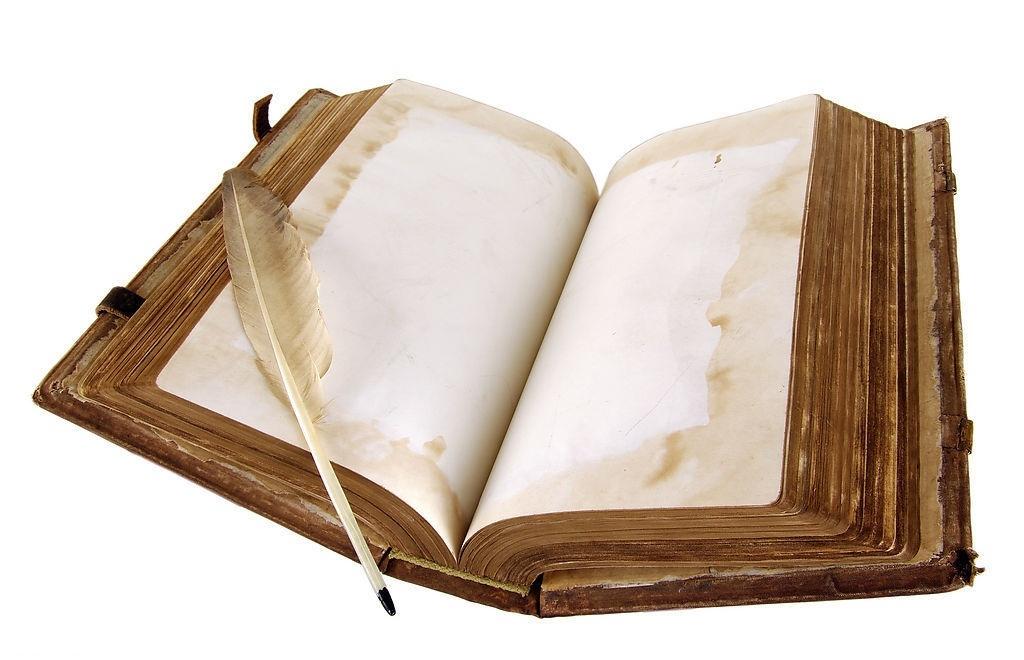 Рисунок раскрытой книги с пером 018