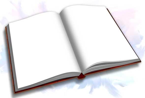 Рисунок раскрытой книги с пером 019