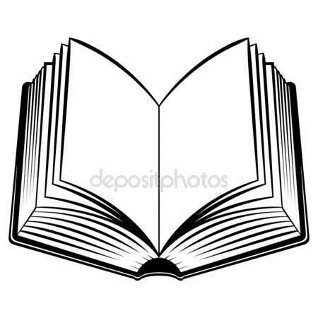 Рисунок раскрытой книги с пером 021
