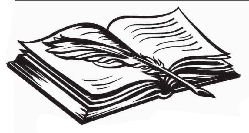 Рисунок раскрытой книги с пером 022