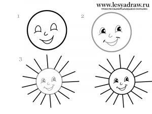 Рисунок солнце с лучами для детей 025