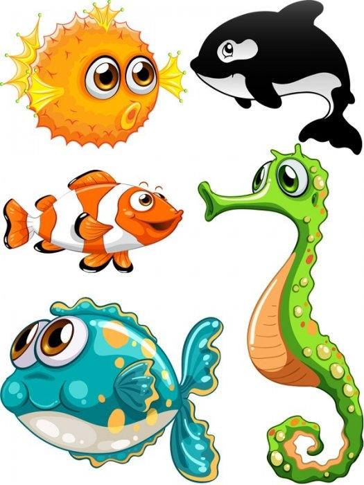 Рыбка на прозрачном фоне картинки для детей 003