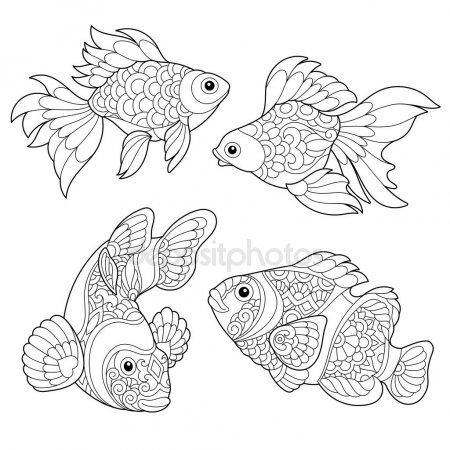 Рыбка на прозрачном фоне картинки для детей 010