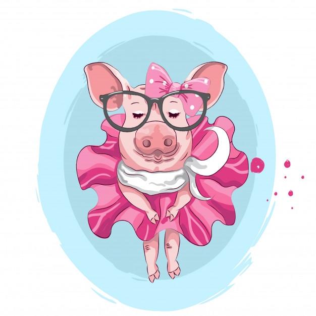 Прикольная свинья рисунки, новогодние