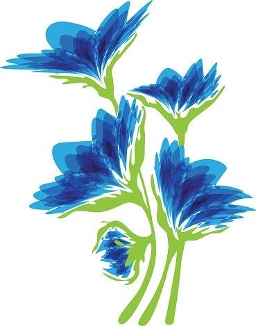 Синие цветы на белом фоне   фото 016