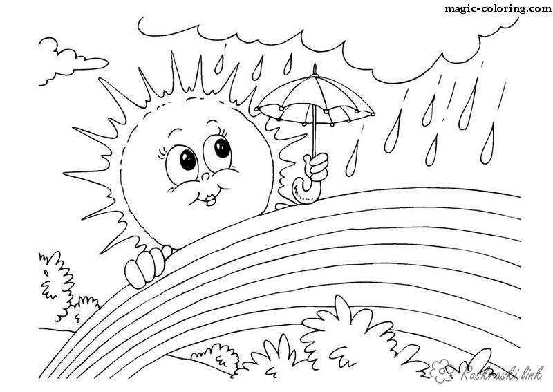 Солнце картинки для детей раскраски 007